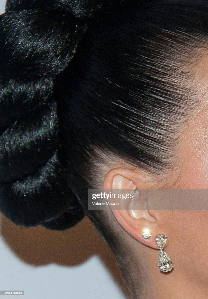 Singer <a gi-track='captionPersonalityLinkClicked' href=/galleries/search?phrase=Katy+Perry&family=editorial&specificpeople=599558 ng-click='$event.stopPropagation()'>Katy Perry</a> (jewelry detail) arrives at the Universal Music Group 2014 Post GRAMMY Party at The Ace Hotel Theater on January 26, 2014 in Los Angeles, California.