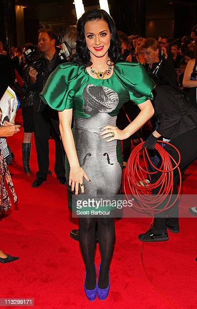 Singer Katy Perry arrives on the red carpet ahead of the 2011 Logie Awards at Crown Palladium on May 1 2011 in Melbourne Australia