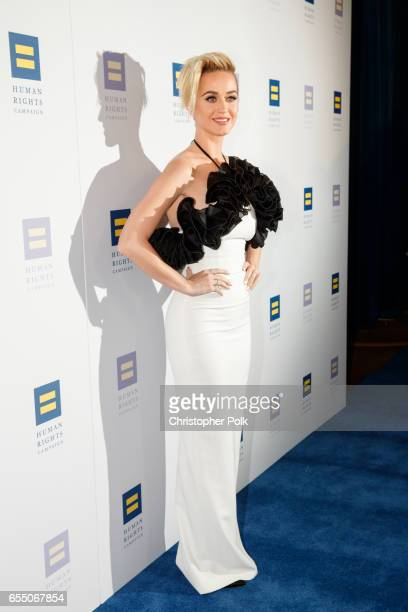 Singer Katy Perry arrives to The Human Rights Campaign 2017 Los Angeles Gala Dinner at JW Marriott Los Angeles at LA LIVE on March 18 2017 in Los...