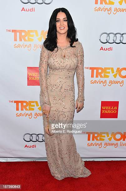 Singer Katy Perry arrives to The Trevor Project's 'Trevor Live' event honoring singer Katy Perry at the Hollywood Palladium on December 2 2012 in...