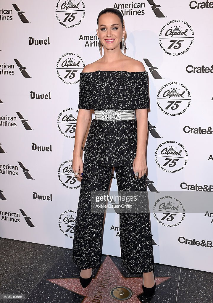 Singer Katy Perry attends Capitol Records 75th Anniversary Gala at Capitol Records Tower on November 15, 2016 in Los Angeles, California.