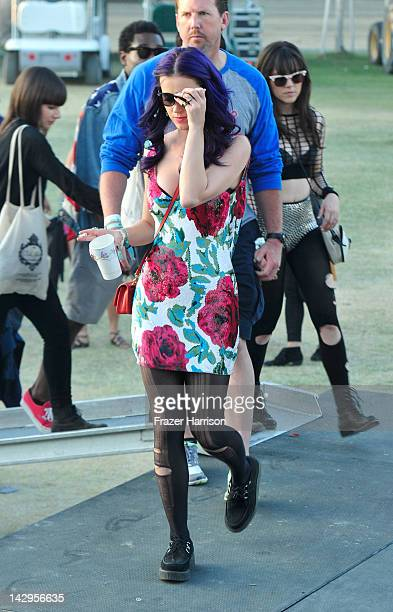 Singer Katy Perry attends Day 3 of the 2012 Coachella Valley Music Arts Festival held at the Empire Polo Club on April 15 2012 in Indio California