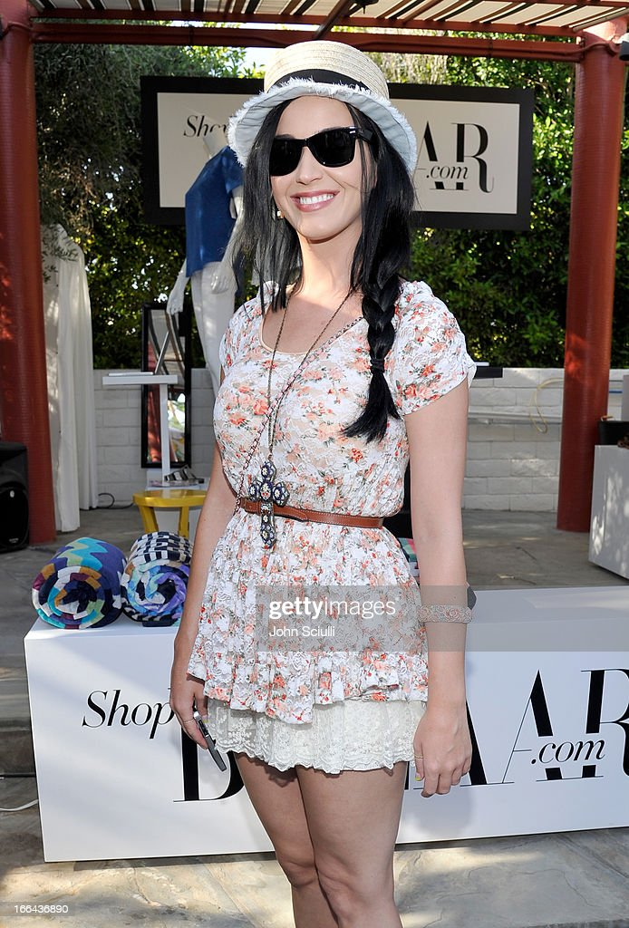 Singer <a gi-track='captionPersonalityLinkClicked' href=/galleries/search?phrase=Katy+Perry&family=editorial&specificpeople=599558 ng-click='$event.stopPropagation()'>Katy Perry</a> attends Harper's BAZAAR Coachella poolside fete at the Parker Palm Springs on April 12, 2013 in Palm Springs, California.