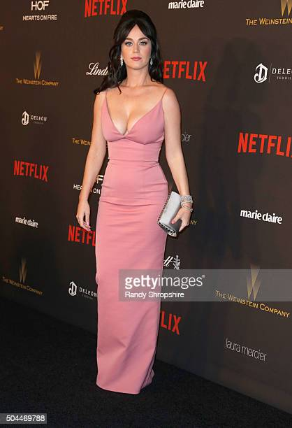 Singer Katy Perry attends the 2016 Weinstein Company and Netflix Golden Globe Awards After Party at The Beverly Hilton on January 10 2016 in Los...