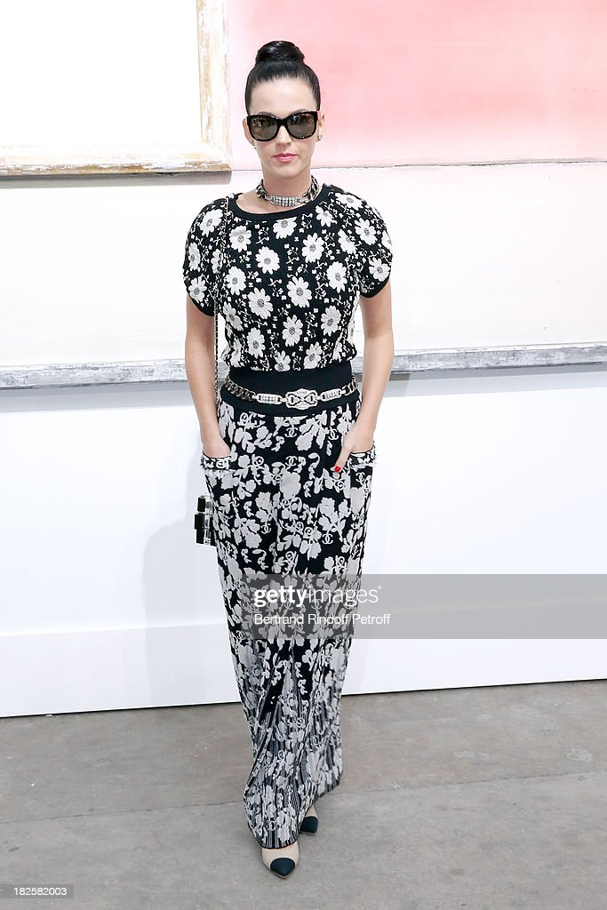 Singer Katy Perry attends the Chanel show as part of the Paris Fashion Week Womenswear Spring/Summer 2014, held at Grand Palais on October 1, 2013 in Paris, France.