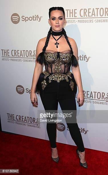 Singer Katy Perry attends the Creators Party presented by Spotify at Cicada on February 13 2016 in Los Angeles California