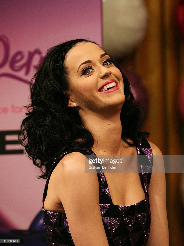 Singer <a gi-track='captionPersonalityLinkClicked' href=/galleries/search?phrase=Katy+Perry&family=editorial&specificpeople=599558 ng-click='$event.stopPropagation()'>Katy Perry</a> attends the launch of her new fragrance 'Purr' at Myer, Bourke Street on April 30, 2011 in Melbourne, Australia.