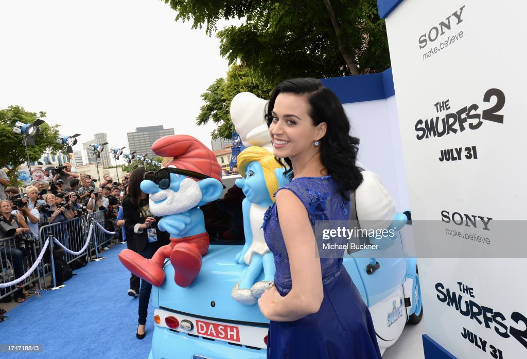 Singer <a gi-track='captionPersonalityLinkClicked' href=/galleries/search?phrase=Katy+Perry&family=editorial&specificpeople=599558 ng-click='$event.stopPropagation()'>Katy Perry</a> attends the Los Angeles premiere of 'The Smurfs 2' at Regency Village Theatre on July 28, 2013 in Westwood, California.