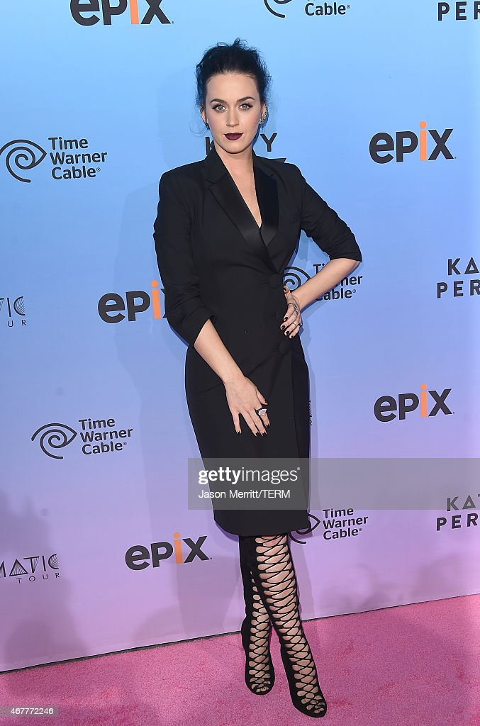Singer Katy Perry attends the screening of EPIX's 'Katy Perry The Prismatic World Tour' at The Theatre at Ace Hotel Downtown LA on March 26 2015 in...