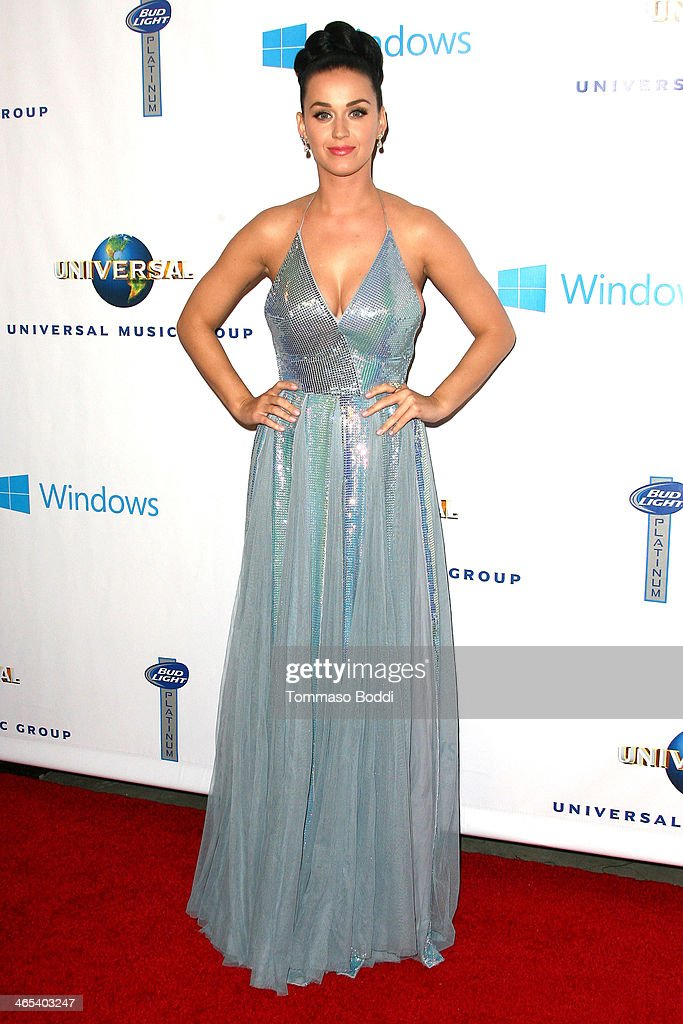 Singer <a gi-track='captionPersonalityLinkClicked' href=/galleries/search?phrase=Katy+Perry&family=editorial&specificpeople=599558 ng-click='$event.stopPropagation()'>Katy Perry</a> attends the Universal Music Group 2014 post GRAMMY party held at The Ace Hotel Theater on January 26, 2014 in Los Angeles, California.