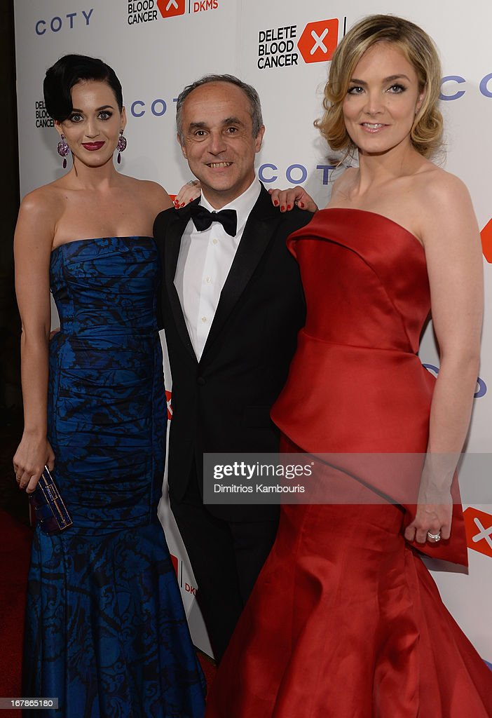 Singer Katy Perry, CEO of Coty Inc. Michele Scannavini and Co-Founder of Delete Blood Cancer Katharina Harf attend the 2013 Delete Blood Cancer Gala which honors Vera Wang, Leighton Meester and Suzi Weiss-Fischmann on May 1, 2013 in New York City.