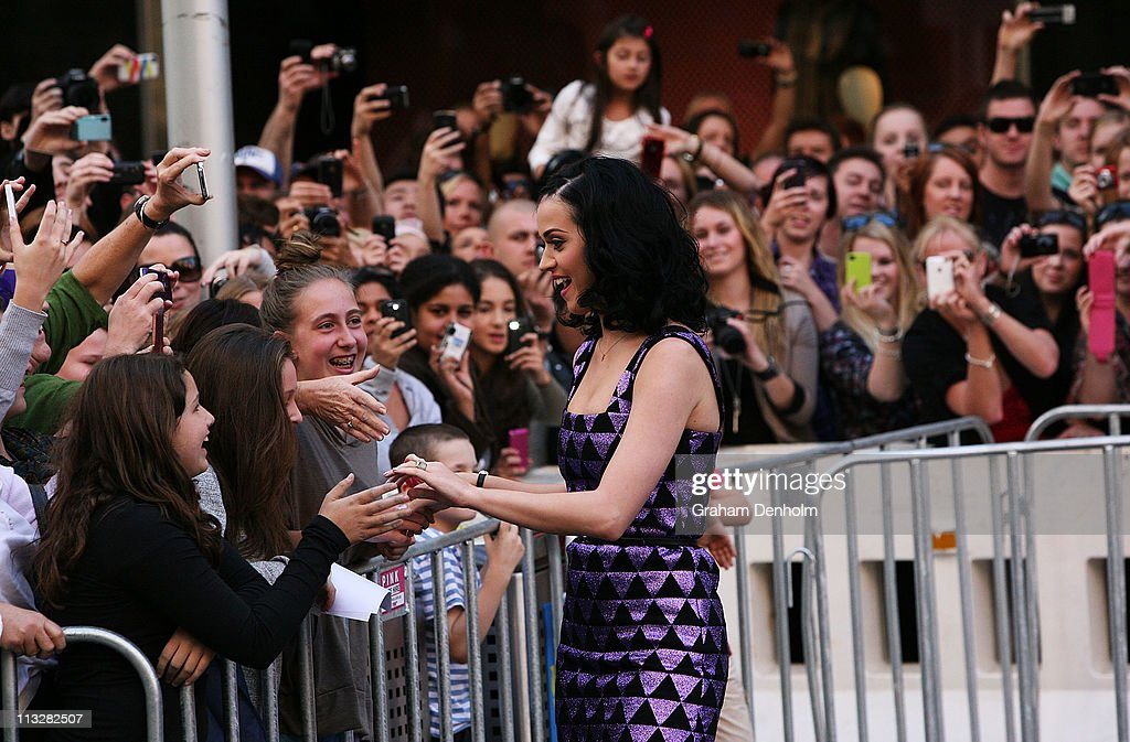 Singer <a gi-track='captionPersonalityLinkClicked' href=/galleries/search?phrase=Katy+Perry&family=editorial&specificpeople=599558 ng-click='$event.stopPropagation()'>Katy Perry</a> greets fans at the launch of her new fragrance 'Purr' at Myer, Bourke Street on April 30, 2011 in Melbourne, Australia.