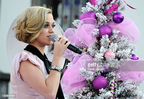 Singer Katy Perry makes an appearance at Nordstrom at The Grove at Farmers Market to launch her new fragrance 'Meow' at The Grove on December 14 2011...