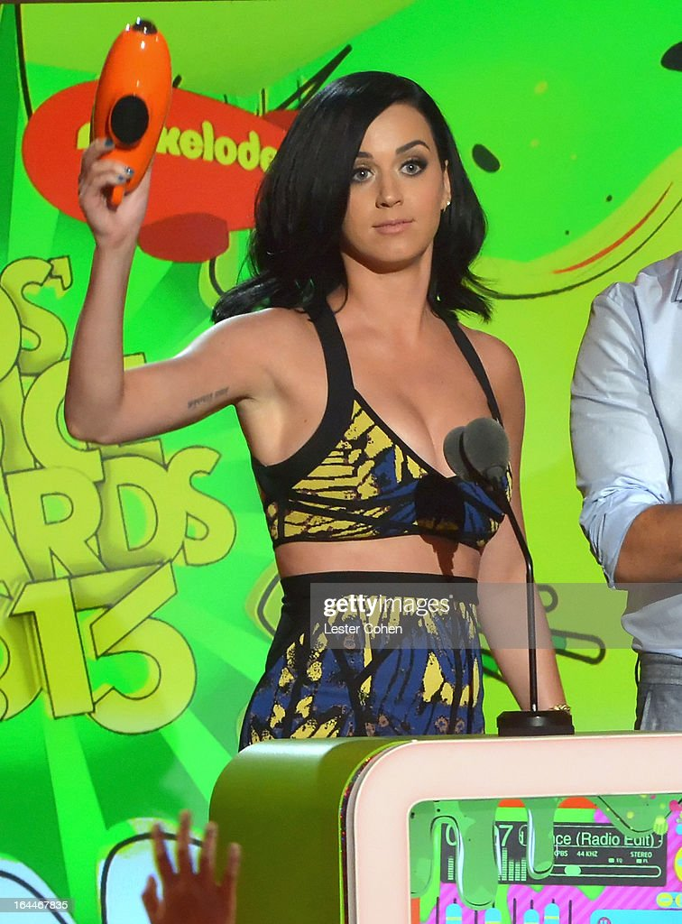 Singer <a gi-track='captionPersonalityLinkClicked' href=/galleries/search?phrase=Katy+Perry&family=editorial&specificpeople=599558 ng-click='$event.stopPropagation()'>Katy Perry</a> performs during Nickelodeon's 26th Annual Kids' Choice Awards at USC Galen Center on March 23, 2013 in Los Angeles, California.