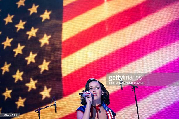 Singer Katy Perry performs during the KidsÕ Inaugural concert at the Washington Convention Center January 19 2013 in Washington DC The event attended...