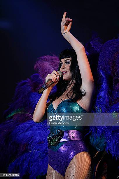 Singer Katy Perry performs on stage during a concert in the Rock in Rio Festival on September 23 2011 in Rio de Janeiro Brazil Rock in Rio Festival...