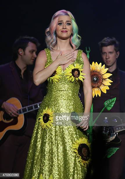 Singer Katy Perry performs on the stage during her live tour at Guangzhou International Sports Arena on April 18 2015 in Guangzhou Guangdong province...