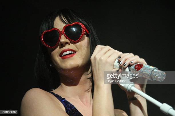 Singer Katy Perry performs onstage at Paper Magazine's The Beautiful People Party 2009 at the Hiro Ballroom in the Maritime Hotel on April 9 2009 in...