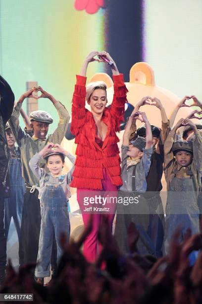 Singer Katy Perry performs onstage at the 2017 iHeartRadio Music Awards which broadcast live on Turner's TBS TNT and truTV at The Forum on March 5...