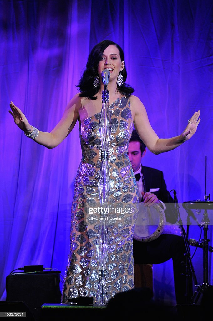 Singer Katy Perry performs onstage at The Ninth Annual UNICEF Snowflake Ball at Cipriani, Wall Street on December 3, 2013 in New York City.