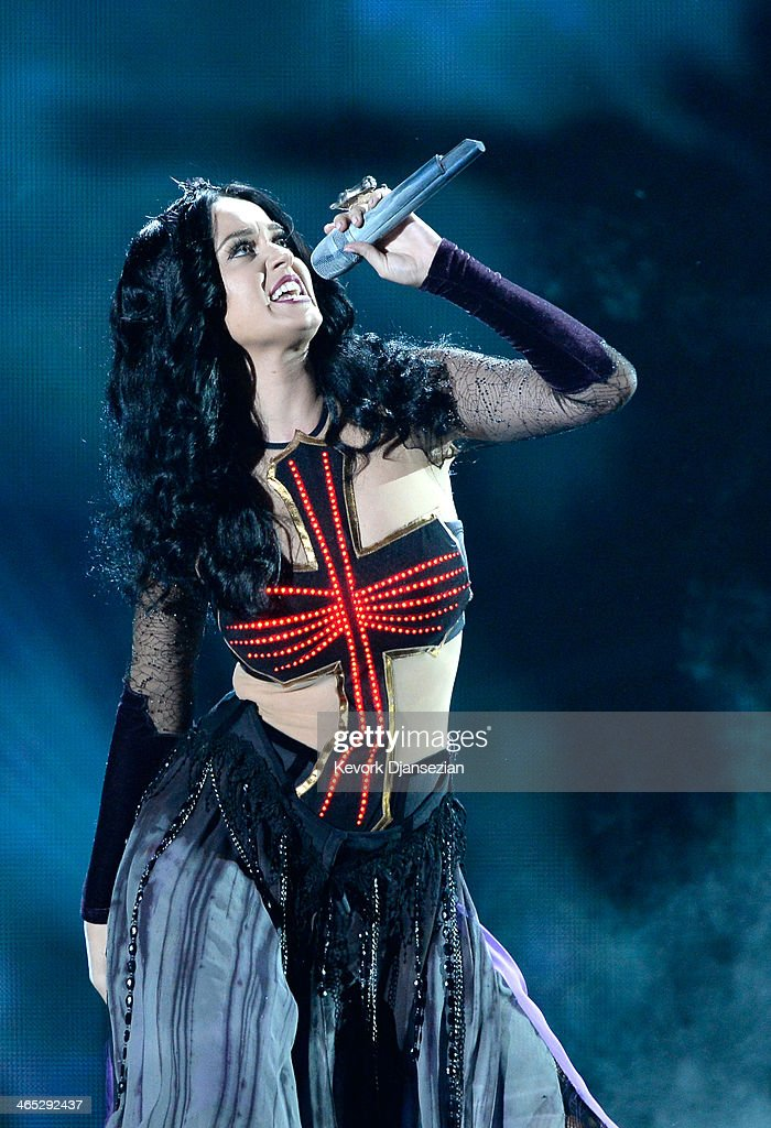 Singer <a gi-track='captionPersonalityLinkClicked' href=/galleries/search?phrase=Katy+Perry&family=editorial&specificpeople=599558 ng-click='$event.stopPropagation()'>Katy Perry</a> performs onstage during the 56th GRAMMY Awards at Staples Center on January 26, 2014 in Los Angeles, California.