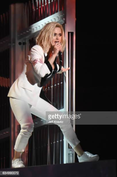 Singer Katy Perry performs onstage during The 59th GRAMMY Awards at STAPLES Center on February 12 2017 in Los Angeles California