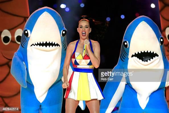 Singer Katy Perry performs with dancers during the Pepsi Super Bowl XLIX Halftime Show at University of Phoenix Stadium on February 1 2015 in...
