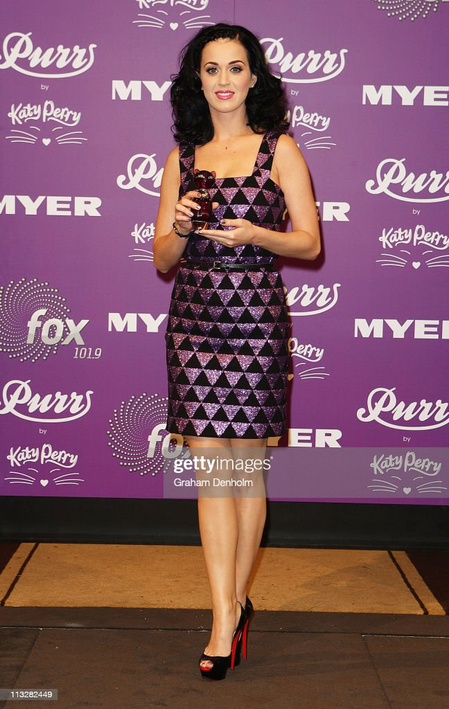 Singer Katy Perry poses at the launch of her new fragrance 'Purr' at Myer, Bourke Street on April 30, 2011 in Melbourne, Australia.