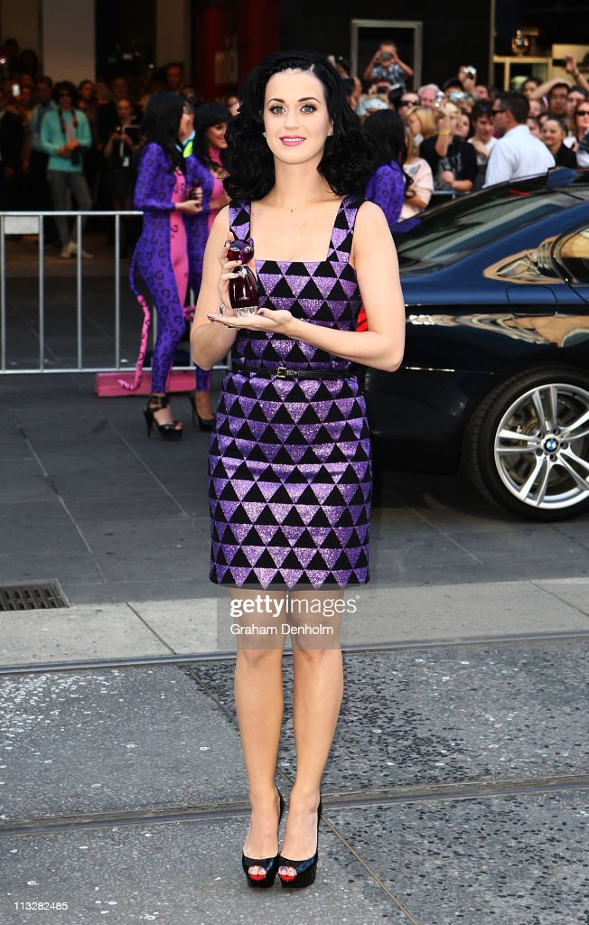 Singer <a gi-track='captionPersonalityLinkClicked' href=/galleries/search?phrase=Katy+Perry&family=editorial&specificpeople=599558 ng-click='$event.stopPropagation()'>Katy Perry</a> poses at the launch of her new fragrance 'Purr' at Myer, Bourke Street on April 30, 2011 in Melbourne, Australia.
