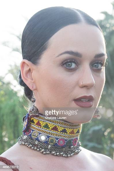 Singer Katy Perry poses backstage at the Coachella Valley Music and Arts Festival at The Empire Polo Club on April 12 2015 in Indio California