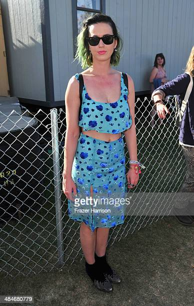 Singer Katy Perry poses backstage during day 3 of the 2014 Coachella Valley Music Arts Festival at the Empire Polo Club on April 13 2014 in Indio...