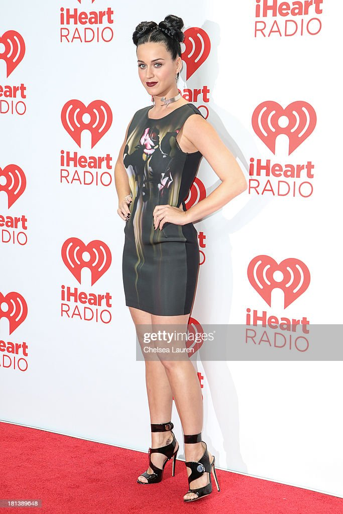 Singer Katy Perry poses in the iHeartRadio music festival photo room on September 20, 2013 in Las Vegas, Nevada.