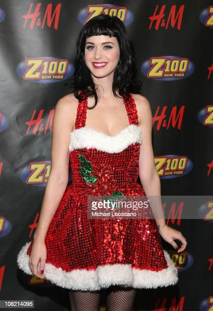 Singer Katy Perry poses in the press room during Z100's Jingle Ball at Madison Square Garden on December 12 2008 in New York City