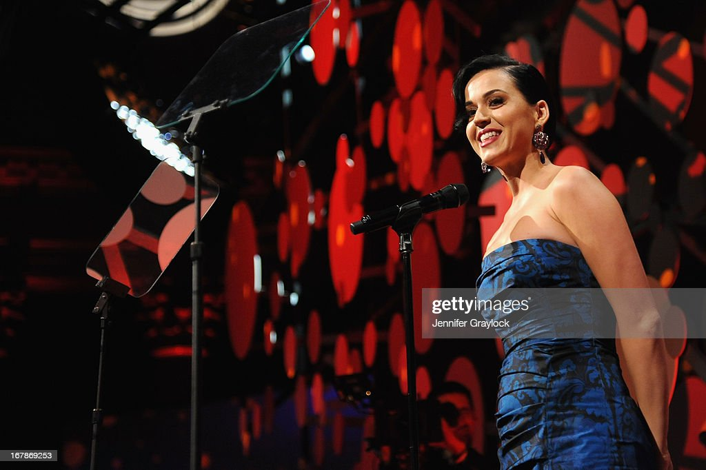 Singer Katy Perry speaks at the 2013 Delete Blood Cancer Gala honoring Vera Wang, Leighton Meester and Suzi Weiss-Fischmann on May 1, 2013 in New York City.