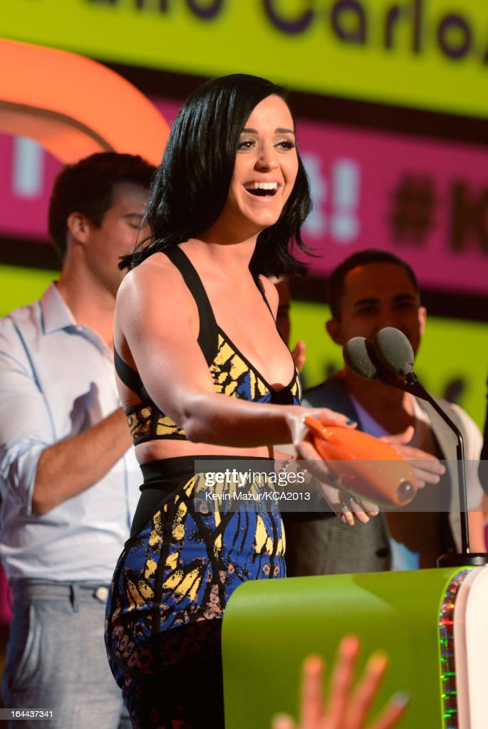 Singer <a gi-track='captionPersonalityLinkClicked' href=/galleries/search?phrase=Katy+Perry&family=editorial&specificpeople=599558 ng-click='$event.stopPropagation()'>Katy Perry</a> speaks onstage during Nickelodeon's 26th Annual Kids' Choice Awards at USC Galen Center on March 23, 2013 in Los Angeles, California.