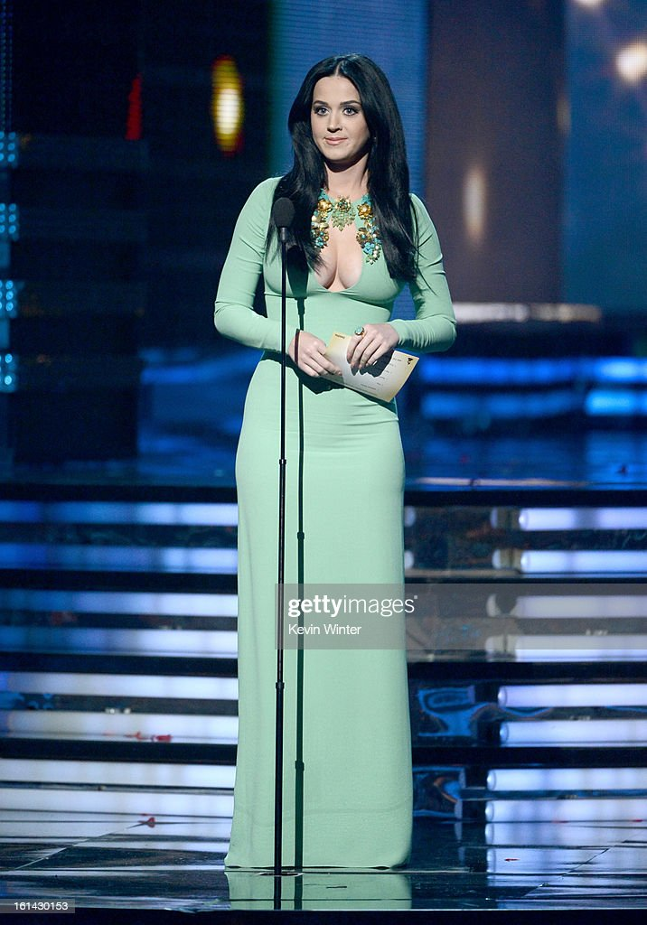 Singer <a gi-track='captionPersonalityLinkClicked' href=/galleries/search?phrase=Katy+Perry&family=editorial&specificpeople=599558 ng-click='$event.stopPropagation()'>Katy Perry</a> speaks onstage during the 55th Annual GRAMMY Awards at STAPLES Center on February 10, 2013 in Los Angeles, California.