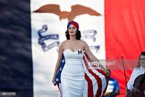 Singer Katy Perry stands on stage during a rally for Hillary Clinton former Secretary of State and 2016 Democratic presidential candidate not...