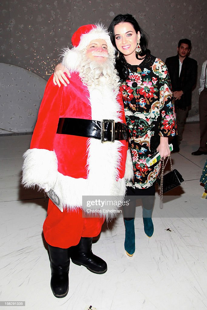Singer <a gi-track='captionPersonalityLinkClicked' href=/galleries/search?phrase=Katy+Perry&family=editorial&specificpeople=599558 ng-click='$event.stopPropagation()'>Katy Perry</a> visits the cast of Broadway's 'A Christmas Story, The Musical' at the Lunt-Fontanne Theatre on December 12, 2012 in New York City.