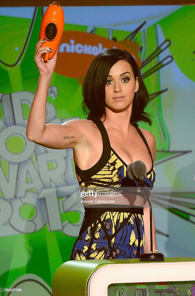 Singer Katy Perry, winner of Favorite Female Singer, speaks onstage during Nickelodeon's 26th Annual Kids' Choice Awards at USC Galen Center on March 23, 2013 in Los Angeles, California.