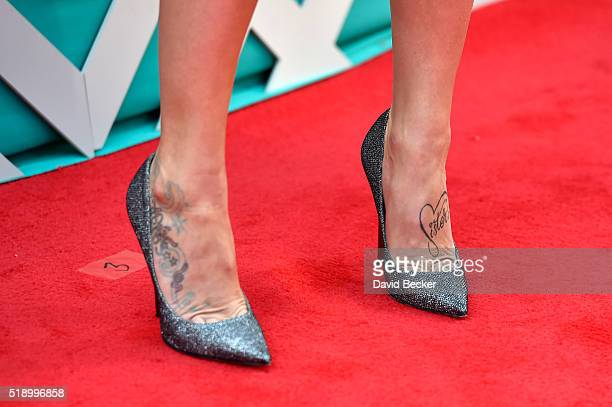 Singer Kayla Adams shoe detail attends the 51st Academy of Country Music Awards at MGM Grand Garden Arena on April 3 2016 in Las Vegas Nevada