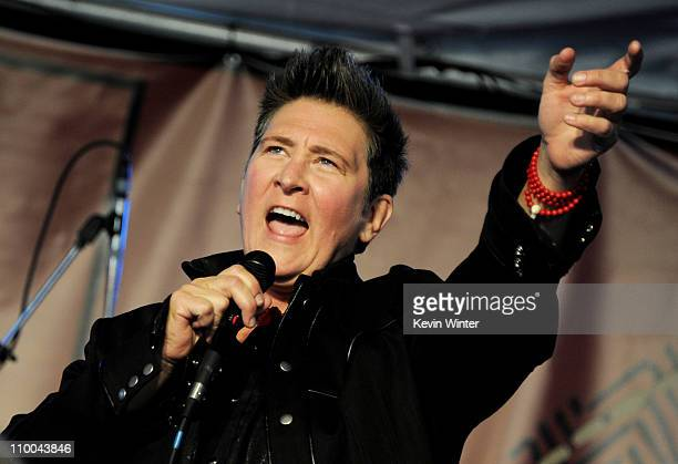 Singer kd lang performs at John Varvatos' 8th Annual Stuart House Benefit at the John Varvatos Boutique on March 13 2011 in West Hollywood California