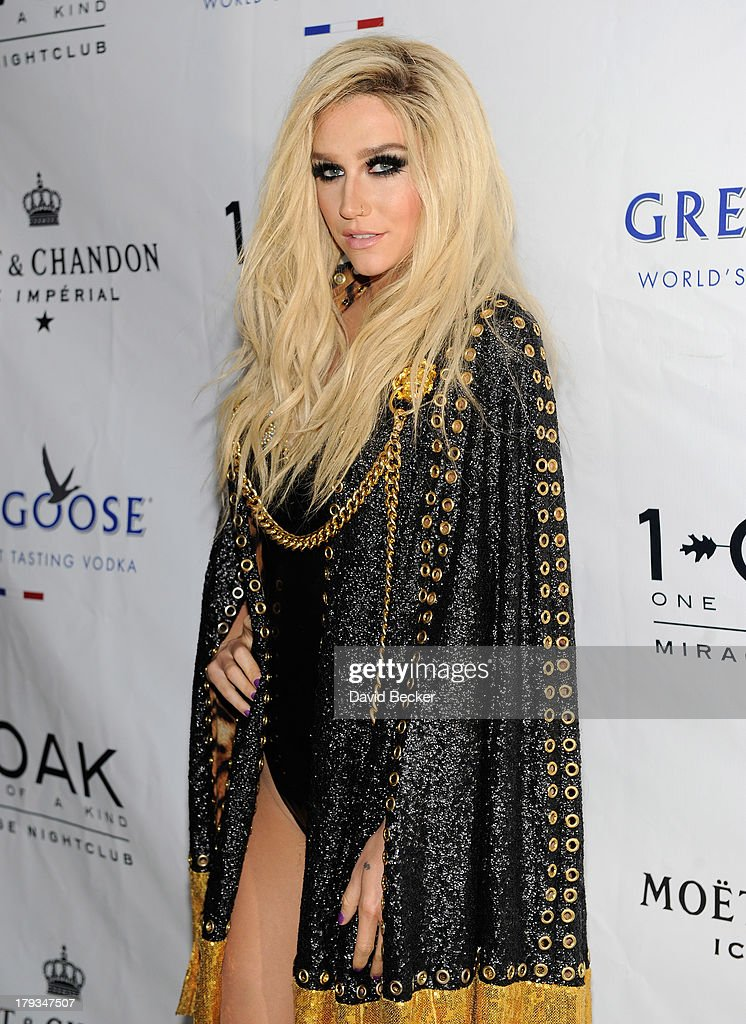Singer Ke$ha arrives at 1 OAK Nightclub at The Mirage Hotel & Casino to perform at a Labor Day weekend party on September 1, 2013 in Las Vegas, Nevada.