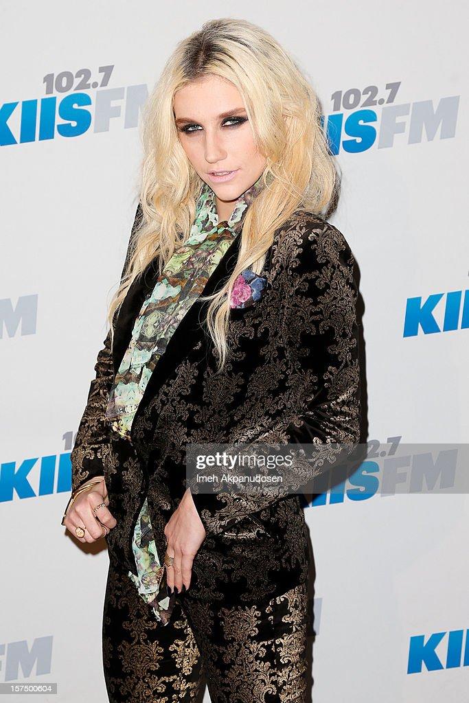 Singer Ke$ha attends KIIS FM's 2012 Jingle Ball at Nokia Theatre L.A. Live on December 3, 2012 in Los Angeles, California.