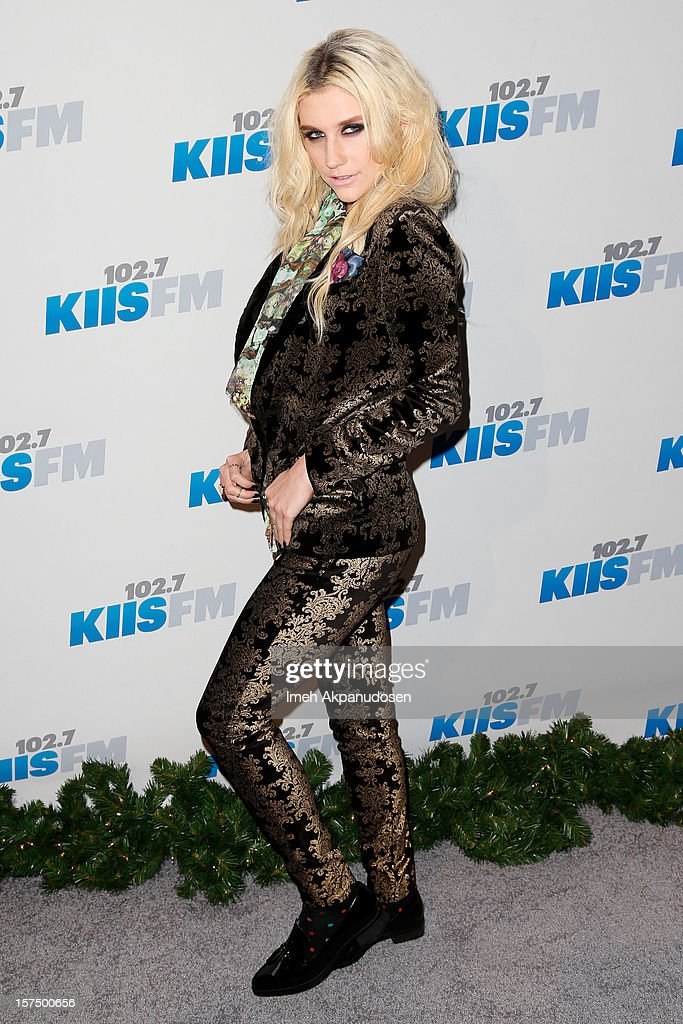 Singer <a gi-track='captionPersonalityLinkClicked' href=/galleries/search?phrase=Ke%24ha&family=editorial&specificpeople=6718222 ng-click='$event.stopPropagation()'>Ke$ha</a> attends KIIS FM's 2012 Jingle Ball at Nokia Theatre L.A. Live on December 3, 2012 in Los Angeles, California.
