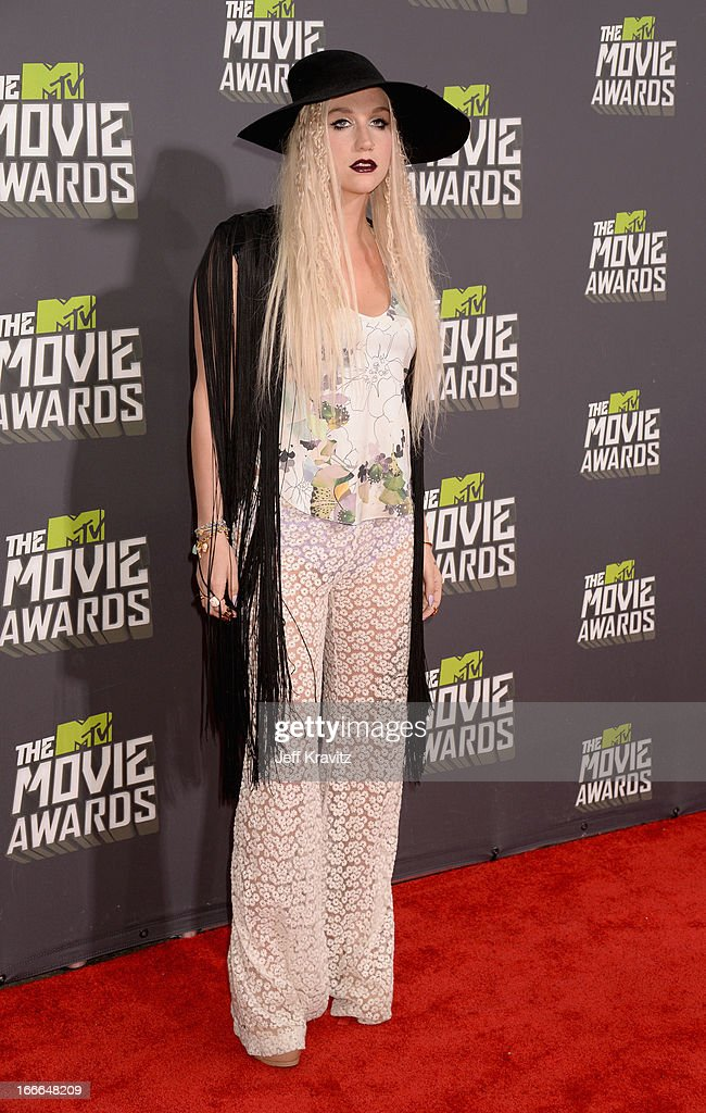 Singer Ke$ha attends the 2013 MTV Movie Awards at Sony Pictures Studios on April 14, 2013 in Culver City, California.