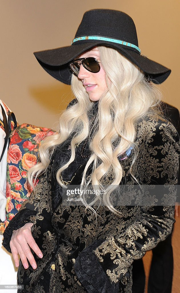 Singer Ke$ha is seen upon arrival at Narita International Airport on January 30, 2013 in Narita, Japan.
