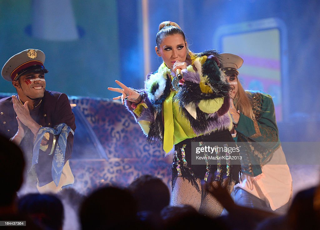 Singer <a gi-track='captionPersonalityLinkClicked' href=/galleries/search?phrase=Ke%24ha&family=editorial&specificpeople=6718222 ng-click='$event.stopPropagation()'>Ke$ha</a> performs during Nickelodeon's 26th Annual Kids' Choice Awards at USC Galen Center on March 23, 2013 in Los Angeles, California.
