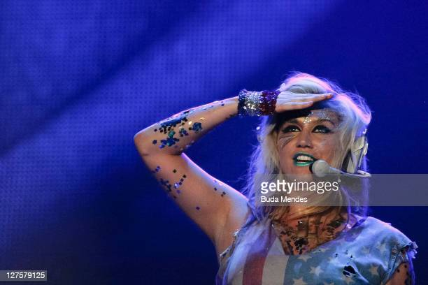 Singer Ke$ha performs on stage during a concert in the Rock in Rio Festival on September 29 2011 in Rio de Janeiro Brazil Rock in Rio Festival comes...