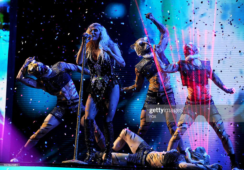Singer Ke$ha performs onstage at FOX's 'The X Factor' Season 2 Top 6 to 4 Live Elimination Show on December 6, 2012 in Hollywood, California.