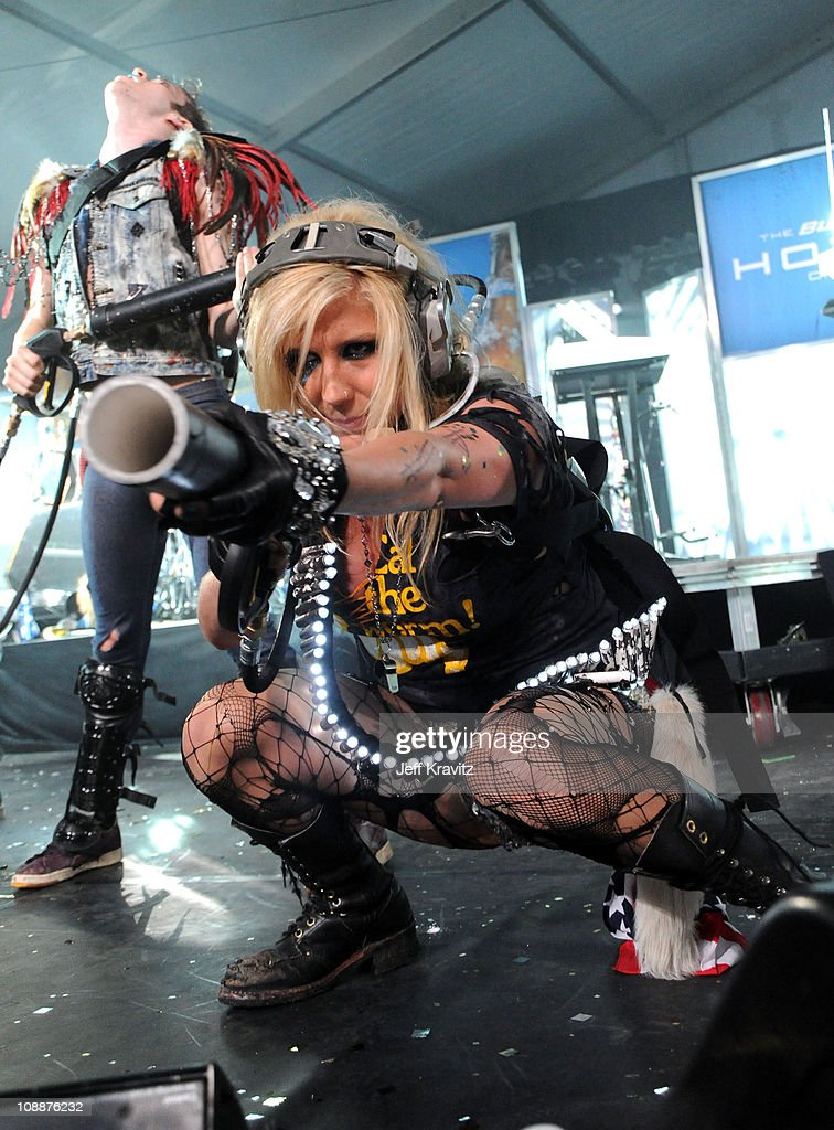 Singer Ke$ha performs onstage during Bud Light Hotel Super Bowl Party at Bud Light Hotel on February 5 2011 in Dallas Texas